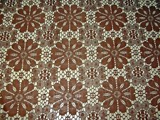 "Retro Drapery craft German import lace fabric floral chocolate 118"" wide"