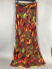 """BCBG Maxazria Leaves Brown Skirt 42"""" Size 8 72% Silk 28% Rayon Lined"""
