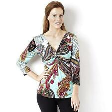 Attitudes by Renee Printed Jersey Knot Detail 3/4 Sleeve Top Size S