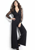 Ladies Jumpsuit Deep V Long Sheer Mesh Sleeve Embellished Cuffs Romper Size 8-26