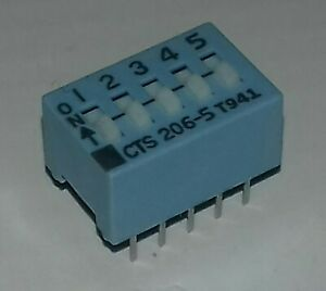 5 x DIP Switches Schalter 5fach 206-5 CTS-Corp20V 50mA DC