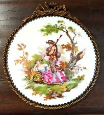 Vintage French Porcelain Hand Painted Enamel Victorian Lovers Plaque Brass Frame