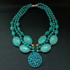 18'' 3 Strands Round Oval Blue Turquoise Necklace Turquoise Chips Pendant