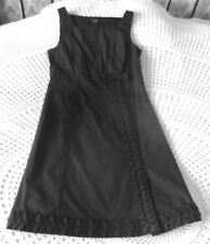 Black cotton party cocktail dress by LINEA Size 12 Pleated design