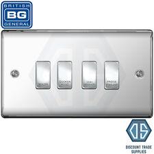 BG Polished Chrome Custom Grid Switch Panel Labelled Kitchen Appliance 4 Gang
