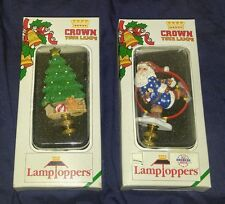 Lot of 2 New crown your Lamp Christmas Tree Gift Gold Star Topper skating santa