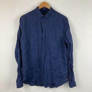 Industrie Mens Linen Button Up Shirt Size Medium Blue Long Sleeve Collared 65.32