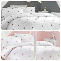 Appletree TUFTED STAR Duver Cover Bedding Quilt Set Cotton Soft White Grey Pink