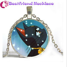 NEW Silver Anime Sailor Moon Cute Cat Jewelry Glass Dome Pendant Necklace#NS1
