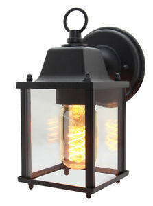 Vintage Outdoor Wall Light Black Metal Glass Lantern style Wall Lamp ZLC082B