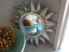 """Small Resin/Plastic Frame Silver Wall Decor Accent Hanging Mirror 11"""" diameter"""