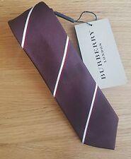 Burberry tie silk brown with stripes knight logo skinny cut factory second BNWT