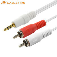 Cabletime 3.5mm M To 2RCA M Cable Aux Cable Jack Stereo Output Audio Splitter