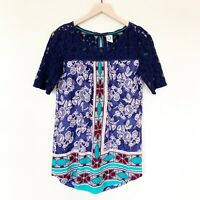 NEW ANTHROPOLOGIE AKEMI + KIN Womens Top SZ S Matie Boho Tunic Floral Lace Blue