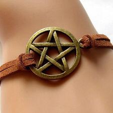 Inspired Bracelet Pendant Brown Rope Retro Bronze Pentagram Bracelet LC