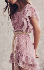$485 NWT LoveShackFancy Emmy Pink Silk Floral Dress Ruffle Sleeves- Size 2 XS