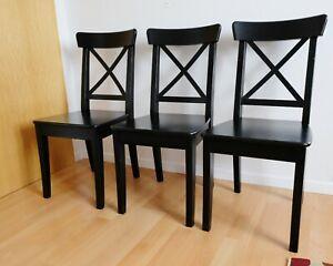 Ikea Stuhl INGOLF Kiefer Schwarz, 3 Stühle