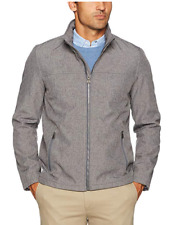 New Dockers Men's Performance Soft Shell Open Bottom Jacket Gray XXL Water Resis
