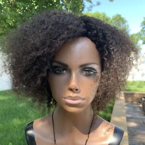100% Real Human Hair Wig Dark Brown Curly 12 inches No Lace