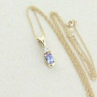 14K Yellow Gold Natural Tanzanite and Diamond Necklace 18 inch chain