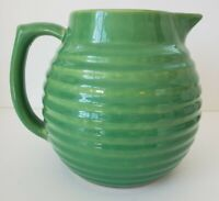 Over and Back Yellow Ware Beehive Pitcher in green