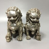 15cm Fengshui silver copper Foo Fu Dog guardian Lion male and female Statue Pair