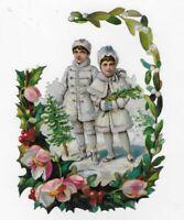 """VICTORIAN CHRISTMAS SNOW CHILDREN WINTER WONDERLAND GARLAND, Antique Scrap 6.5"""""""