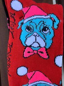 betsey Johnson Novelty Sock Lot  socks Bull Dog Pink  3 Pair Lot Christmas Socks