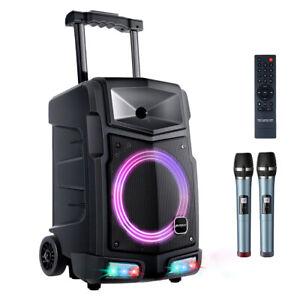 """Aktiv Karaoke Box Mobile PA Anlage Party Lautsprecher Bluetooth 8""""Subwoofer 500W"""