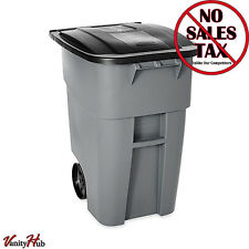50 Gallon Outdoor Trash Can With Wheels Rubbermaid Commercial Brute Rolling New