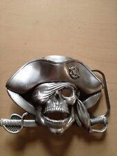 "VTG Solid Fine Pewter Belt Buckle Ghost Skeleton Pirate (4""x3"") #4586 Dated 1997"