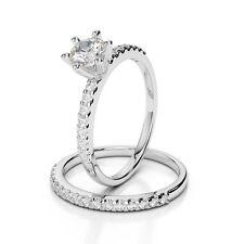 1 CT Diamond Engagement Ring Set + Band Round Cut D VS2 18K White Gold Enhanced