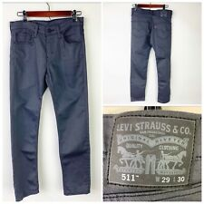 Levi's 511 Men's W29 L30 Jeans Coated Denim Pants Grey tapered leg 5 pocket