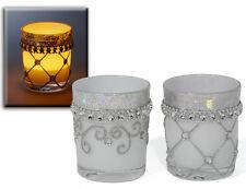 Teelicht 2er Set silber glänzend Windlicht Teelichthalter