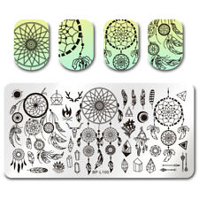 BORN PRETTY Nagel Stempel Schablone Traumfänger Feder Muster Nail Stmaping Plate