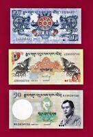 3 BHUTAN 2006 UNC NOTES:1 Ngultrum (P27), 5 Ngultrum (P28), & 10 Ngultrum (P-29)