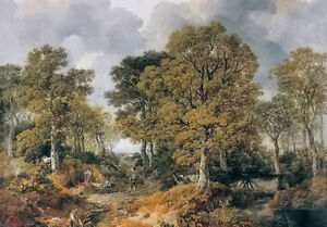 Oil painting thomas gainsborough - nice landscape woods with figures on canvas
