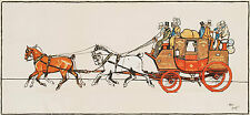 'STAGECOACH' colour lithograph by CECIL ALDIN c1920s horses transport