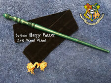 "Custom Harry Potter Wand 14"", REAL WOOD Hand Crafted, Rare, Pottermore Slytherin"