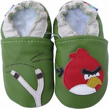 carozoo bird slingshot green 7-8y soft sole leather kids shoes slippers