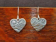 Hearts with Mountains Sun Moon Dangle Sterling Silver 925 Pierced Earrings