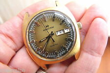HAMILTON MENS  QUARTZ  BROWN GOLD DIAL 37 MM DAY DATE HAMILTON CROWN