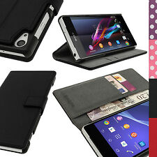 PU Leather Skin Card Wallet Case for Sony Xperia Z2 D6503 Flip Stand Book Cover Black