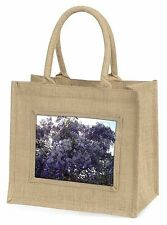 Cascading Wisteria Flowers Large Natural Jute Shopping Bag Christmas G, FL-11BLN