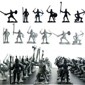 60PCS Black Silver Medieval Knights Warriors Kids Toy Soldiers Figure Models Set