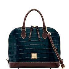 Dooney & Bourke Oakdale Leather Croc Embossed Zip Zip Satchel Purse Bag Black