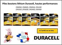 Piles boutons Duracell 3V lithium CR2032-2025-2016-1616-1620-1220-2430-2450