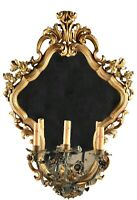 Early 20th Century Continental Rococo Style WallMirror Mirrored Giltwood Sconce