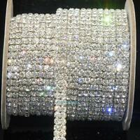 2-Row Clear Crystal Rhinestone Trims Close Chain Silver ss16 x 1 yard Decoration