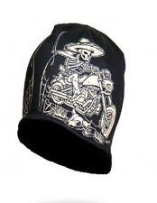 Sublimation Black Mexicali Skeleton Sombrero Biker Stocking Cap Beanie Hat